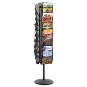 Safco 5577BL Onyx Mesh Rotating Magazine Display, 30 Compartments, 16-1/2w x 66h, Black SAF5577BL