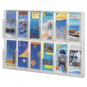 Safco 5604CL Reveal Clear Literature Displays, 12 Compartments, 30 w x 2d x 20 1/4h, Clear SAF5604CL