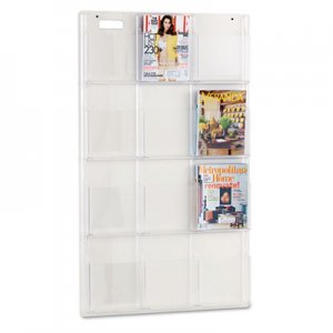 Safco 5602CL Reveal Clear Literature Displays, 12 Compartments, 30w x 2d x 49h, Clear SAF5602CL