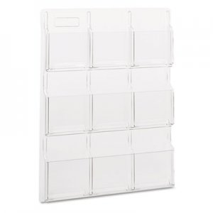 Safco 5603CL Reveal Clear Literature Displays, Nine Compartments, 30w x 2d x 36-3/4h, Clear SAF5603CL