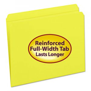 Smead 12910 File Folders, Straight Cut, Reinforced Top Tab, Letter, Yellow, 100/Box SMD12910