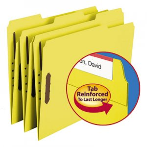 Smead 12940 Folders, Two Fasteners, 1/3 Cut Assorted Top Tab, Letter, Yellow, 50/Box SMD12940