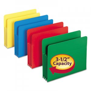 Smead 73500 Exp File Pockets, Straight Tab, Poly, Letter, Assorted, 4/Box SMD73500