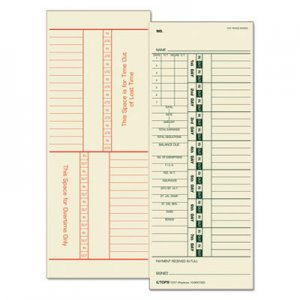 TOPS 1257 Time Card for Acroprint/Simplex, Weekly, Two-Sided, 3 1/2 x 9, 500/Box TOP1257