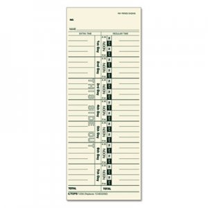 TOPS 1256 Acroprint/Cincinnati/Lathem/Simplex/Stromberg Time Card 3 1/2 x 9, 500/Box TOP1256