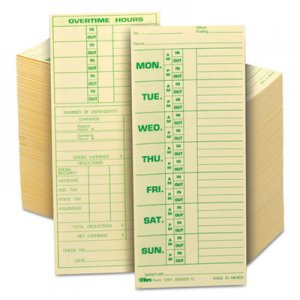 TOPS 1291 Time Card for Pyramid Model 331-10, Weekly, Two-Sided, 3 1/2 x 8 1/2, 500