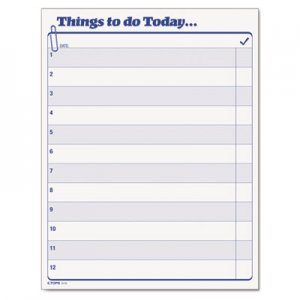 "TOPS 2170 Things To Do Today"" Daily Agenda Pad, 8 1/2 x 11, 100 Forms TOP2170"