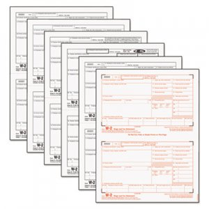 TOPS 22991 W-2 Tax Forms, 6-Part, 8 1/2 x 5 1/2, Inkjet/Laser, 50 W-2s