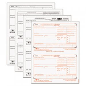 TOPS 22990 W-2 Tax Forms, 4-Part, 8 1/2 x 5 1/2, Inkjet/Laser, 50 W-2s