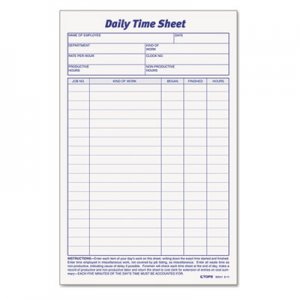 TOPS 30041 Daily Time and Job Sheets, 8 1/2 x 5 1/2, 100/Pad, 2/Pack TOP30041