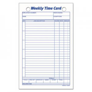 TOPS TOP3016 Employee Time Card, Weekly, 4 1/4 x 6 3/4, 100/Pack
