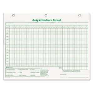 TOPS 3284 Daily Attendance Card, 8 1/2 x 11, 50 Forms TOP3284