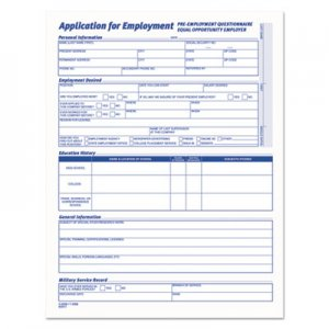 TOPS 3288 Comprehensive Employee Application Form, 8 1/2 x 11, 25 Forms TOP3288
