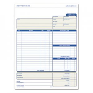 TOPS 3866 Snap-Off Job Invoice Form, 8 1/2 x 11 5/8, Three-Part Carbonless, 50 Forms TOP3866