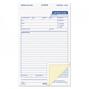 TOPS 3868 Snap-Off Job Work Order Form, 5 1/2 x 8 1/2, Three-Part Carbonless, 50 Forms