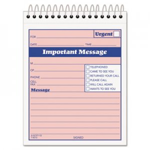 TOPS 4010 Telephone Message Book with Fax/Mobile Section, 4-1/4 x 5 1/2, Two-Part, 50/Book