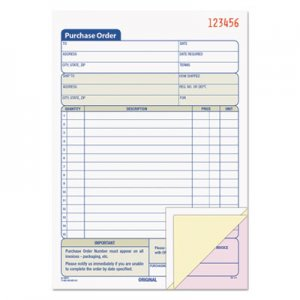 TOPS 46141 Purchase Order Book, 5-9/16 x 7 15/16, Three-Part Carbonless, 50 Sets/Book TOP46141