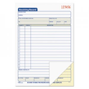 TOPS 46259 Receiving Record Book, 5 1/2 x 7 7/8, Two-Part Carbonless, 50 Sets/Book TOP46259