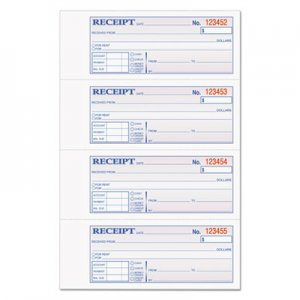 TOPS 46808 Money/Rent Receipt Books, 2-3/4 x 7 1/8, Three-Part Carbonless, 100 Sets/Book TOP46808