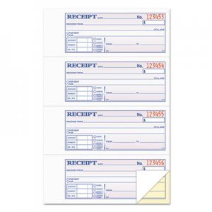 TOPS 46806 Money and Rent Receipt Books, 2-3/4 x 7 1/8, Two-Part Carbonless, 200 Sets/Book