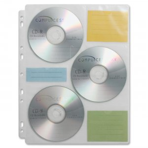Compucessory 22297 CD/DVD Ring Binder Storage Pages CCS22297