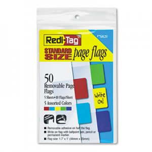 Redi-Tag 76820 Removable Page Flags, Red/Blue/Green/Yellow/Purple, 10/Color, 50/Pack RTG76820