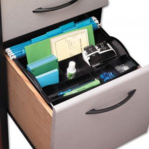 Rubbermaid Commercial 11916ROS Hanging Desk Drawer Organizer, Plastic, Black RUB11916ROS