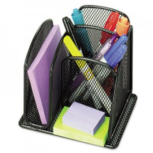 Safco 3250BL Onyx Mini Organizer with Three Compartments, Black, 6 x 5 1/4 x 5 1/4 SAF3250BL