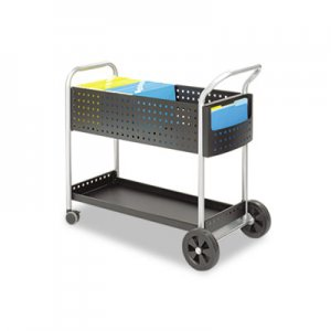 Safco 5239BL Scoot Mail Cart, One-Shelf, 22-1/2w x 39-1/2d x 40-3/4h, Black/Silver