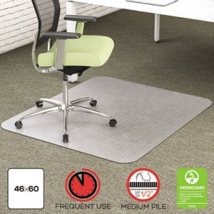 deflecto CM1K442FPET EnvironMat Recycled Anytime Use Chair Mat for Med Pile Carpet, 46 x 60, Clear DEFCM1K442FPET