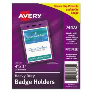 Avery AVE74472 Secure Top Heavy-Duty Badge Holders, Vertical, 3w x 4h, Clear, 25/Pack
