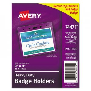 Avery AVE74471 Secure Top Heavy-Duty Badge Holders, Horizontal, 4w x 3h, Clear, 25/Pack