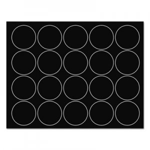 "MasterVision BVCFM1605 Interchangeable Magnetic Board Accessories, Circles, Black, 3/4"", 20/Pack"