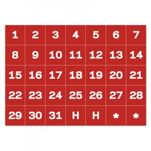 "MasterVision BVCFM1209 Interchangeable Magnetic Board Accessories, Calendar Dates, Red/White, 1"" x 1"""