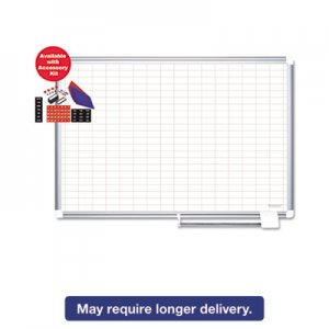 "MasterVision CR0830830A Platinum Plus Dry Erase Planning Board w/Accessory, 1x2"" Grid, 48x36, silver BVCCR0830830A"