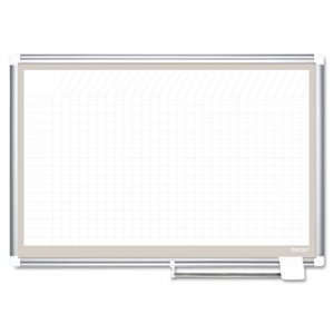 MasterVision BVCCR0632830A All Purpose Porcelain Dry Erase Planning Board, 1 x 1 Grid, 36 x 24, Aluminum