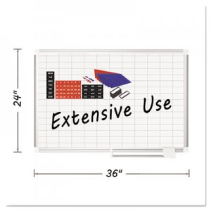 "MasterVision CR0630830A Platinum Plus Dry Erase Planning Board w/Accessories 1x2"" Grid, 36x24, Silver BVCCR0630830A"