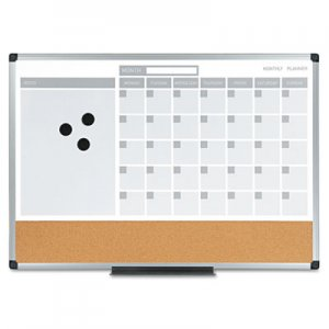 MasterVision BVCMB3507186 3-in-1 Calendar Planner Dry Erase Board, 24 x 18, Aluminum Frame