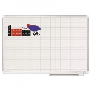 MasterVision BVCMA0592830A Grid Planning Board w/ Accessories, 1 x 2 Grid, 48 x 36, White/Silver