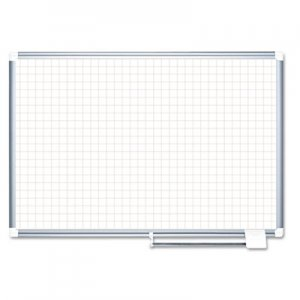 "MasterVision BVCMA0547830 Grid Planning Board, 1"" Grid, 48 x 36, White/Silver"