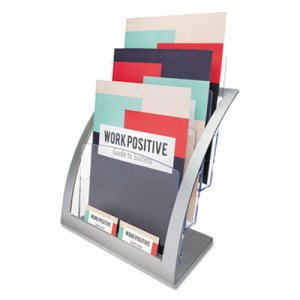 deflecto DEF693745 3-Tier Literature Holder, Leaflet Size, 11 1/4 x 6 15/16 x 13 5/16, Silver