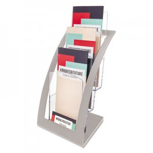 deflecto DEF693645 3-Tier Literature Holder, Leaflet Size, 6 3/4 x 6 15/16 x 13 4/16, Silver