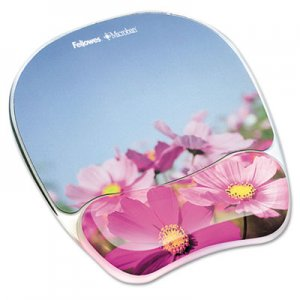 Fellowes 9179001 Gel Mouse Pad w/Wrist Rest, Photo, 9 1/4 x 7 1/3, Pink Flowers FEL9179001