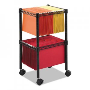 Safco SAF5221BL Two-Tier Compact Mobile Wire File Cart, Steel, 15-1/2w x 14d x 27-1/2h, Black