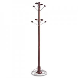 Safco 4240MH Modern Costumer, Eight Hook, Wood/Steel, 18-1/2w x 18-1/2d x 69h, Mahogany SAF4240MH