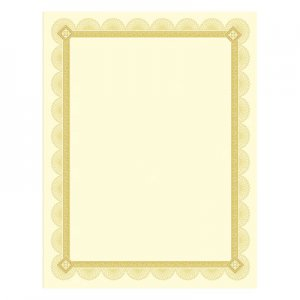Southworth SOUCTP2V Premium Certificates, Ivory, Spiro Gold Foil Border, 66 lb, 8.5 x 11, 15/Pack