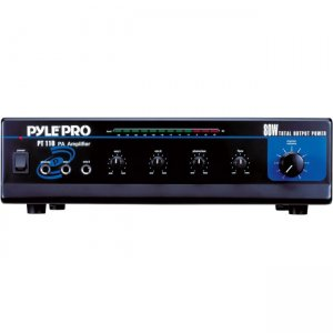 PyleHome PT110 80 Watt AC/DC Microphone PA Mono Amplifier w/ 70V Output & Mic Talkover