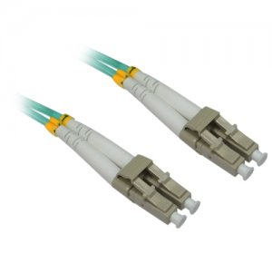 "4XEM 4XFIBERLCLC2M 2M/6.6Ft LC/LC MM Duplex Fiber 50/125 10Gbps ""AQUA"" PVC Patch Cable"