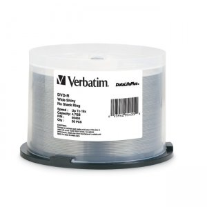 Verbatim 95455 DVD-R 4.7GB 16x DataLifePlus Wide Shiny Silver 50pk Spindle
