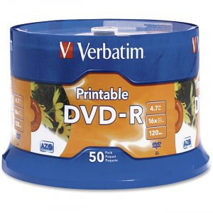 Verbatim 95137 DVD-R 4.7GB 16x White Inkjet Printable 50pk Spindle VER95137